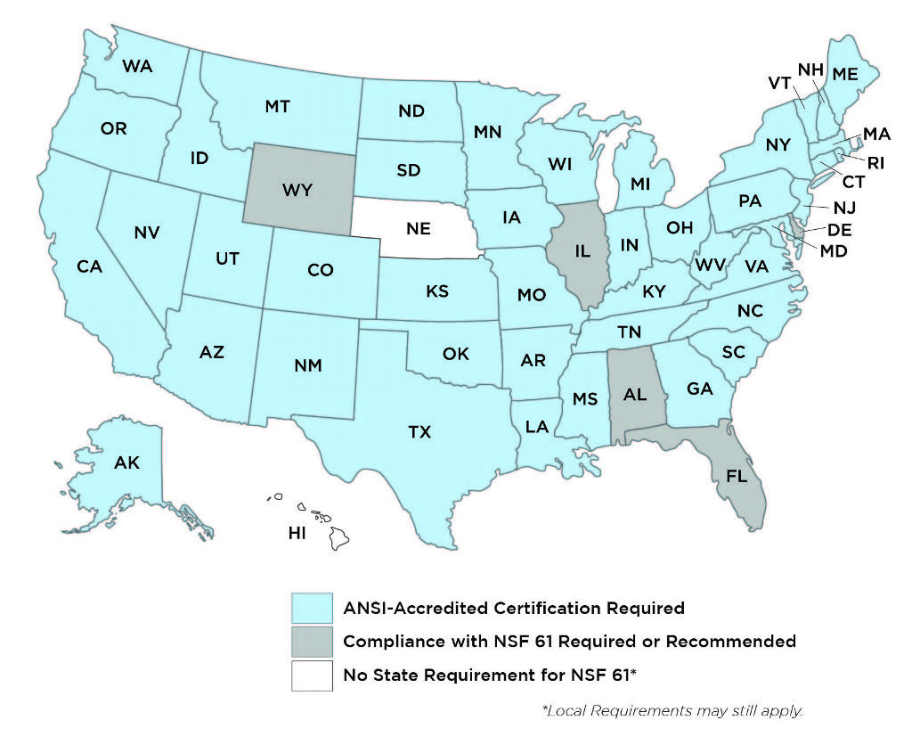 every US state requiring nsf certified products