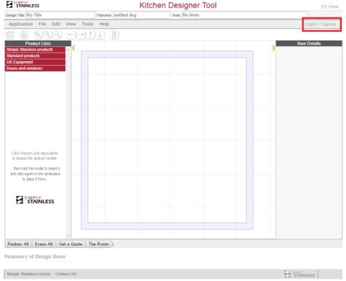 Kitchen designer tool user guide - create login screenshot