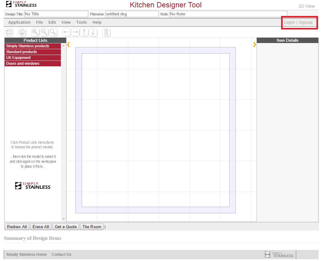 Kitchen designer tool user guide - step 1