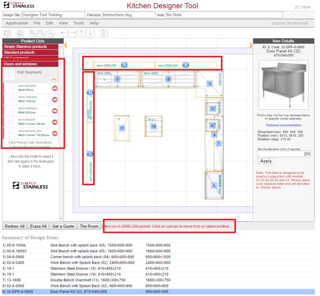 Kitchen designer tool user guide - step 7